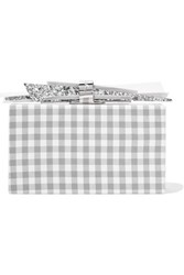 Edie Parker Wolf Gingham Cotton And Glittered Acrylic Box Clutch Gray