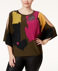 Rachel Roy Trendy Plus Size Cold Shoulder Poncho Top Olive Combo