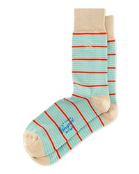 Penguin Thin Striped Knit Socks W Contrast Khaki