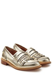 Red Valentino Embellished Leather Loafers Gold