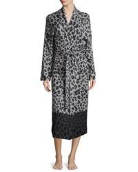 Neiman Marcus Leopard Print Long Robe Gray