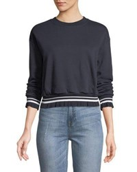 Evidnt Cropped Contrast Band Sweatshirt Navy
