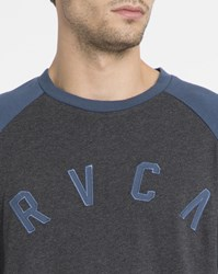 Rvca Dark Grey And Blue Shortstop Raglan Two Tone Ls T Shirt
