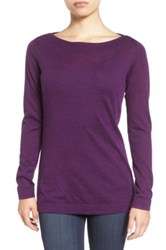Eileen Fisher Fine Merino Bateau Neck Top Purple