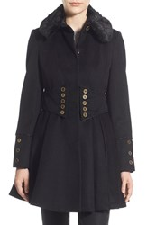 Women's Betsey Johnson Faux Fur Collar Skirted Wool Blend Coat