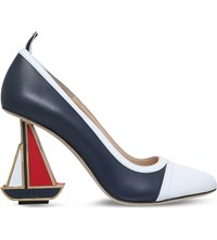 Thom Browne Sailboat 100 Leather Heeled Pumps White Blk