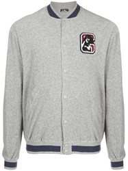 Hysteric Glamour Contrast Trimmed Bomber Jacket Cotton Grey