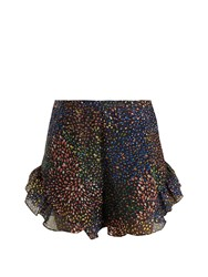 Chloe Abstract Print Ruffle Trimmed Shorts Navy Multi