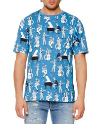 Dolce And Gabbana Jazz Print T Shirt Light Blue Blue Pattern