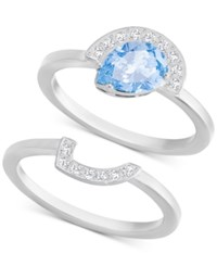 Swarovski Silver Tone 2 Pc. Set Blue And Clear Crystal Rings