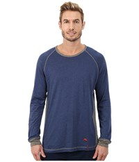 Tommy Bahama Heather Cotton Modal Jersey Knit Long Sleeve Crew Neck Shirt Indigo Heather Men's Pajama Blue