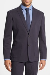 Wallin And Bros Trim Fit Cotton Blazer Blue
