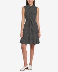Tommy Hilfiger Ruffled Shirtdress Created For Macy's Black Ivory