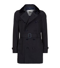 Burberry London The Kensington Shearling Collar Mid Length Heritage Trench Coat Male