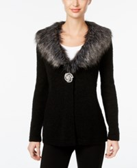 Jm Collection Faux Fur Collar Brooch Cardigan Only At Macy's Deep Black