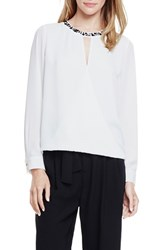 Women's Vince Camuto Embellished Neck Faux Wrap High Low Blouse
