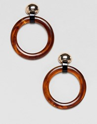 Stradivarius Circle Tortoise Earrings In Gold Brown