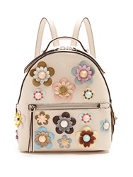 Fendi Embellished Floral Applique Mini Leather Backpack Cream Multi