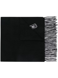 Karl Lagerfeld Patch Work Fringed Scarf Black
