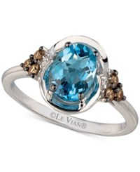 Le Vian Chocolatier Blue Topaz 1 1 3 Ct. T.W. And Diamond 1 5 Ct. T.W. Ring In 14K White Gold