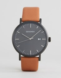 Sekonda Minimalist Tan Leather Watch With Grey Dial Exclusive To Asos Tan