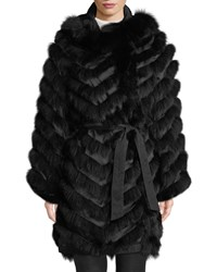 Belle Fare Reversible Silk And Fox Fur Chevron Jacket Black