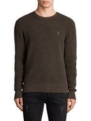 Allsaints Trias Crew Neck Jumper Olive Green Nep