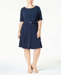 Charter Club Plus Size Belted A Line Dress Created For Macy's Intrepid Blue Combo