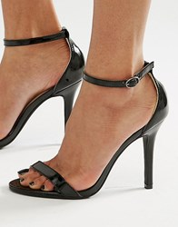 Glamorous Black Patent Two Part Heeled Sandals Black Patent