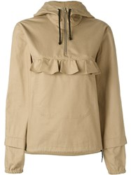 Peter Jensen Frill Detail Anorak Hoodie Nude And Neutrals