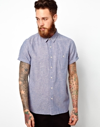 Asos Shirt In Short Sleeve With Linen Mix Blue