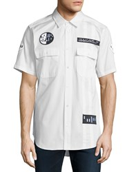 Alexander Wang Button Down Short Sleeve Shirt With Patches White Black