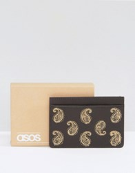 Asos Leather Cardholder With Paisley Embroidery Brown