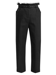 Isa Arfen Gathered Waist Cropped Cotton Blend Trousers Navy