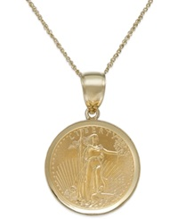 Macy's Genuine Eagle Coin Pendant Necklace In 22K And 14K Gold Yellow Gold