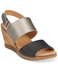 White Mountain Teller Wedge Sandals Women's Shoes Black Pewter