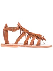 K. Jacques Fringed Sandals Brown