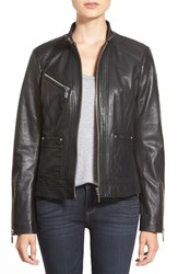 Petite Women's Bernardo Zip Front Leather Jacket Black