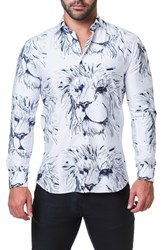 Maceoo Fibonacci Lion Trim Fit Print Sport Shirt White