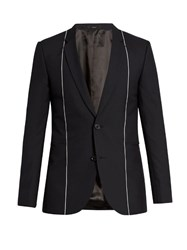 Paul Smith Notch Lapel Contrast Trim Wool Blazer Navy
