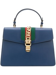 Gucci Sylvie Tote Bag Women Cotton Leather Metal One Size Blue
