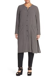 Plus Size Women's Eileen Fisher Silk Mandarin Collar Long Jacket