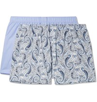 Hanro Two Pack Cotton Boxer Shorts Blue