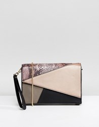 Nali Pink Patchwork Envelope Clutch Bag