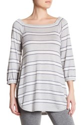 Cullen Stripe Off Shoulder Silk Blend Bardot Pullover Multi