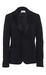 Red Valentino Pressed Wrinkles Tuxedo Style Blazer With Self Tie Neck Scarf Black