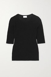 Allude Ribbed Cotton And Silk Blend Top Black