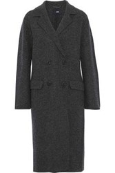 Line Double Breasted Cotton And Wool Blend Coat Charcoal