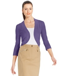 Jessica Howard Three Quarter Sleeve Open Front Cardigan Purple