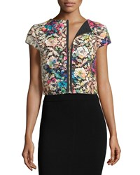 Petite Cap Sleeve Zip Front Lace Crop Top Multi Colors Nicole Miller